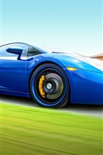 Preview iPhone wallpaper Blue Lamborghini supercar, speed
