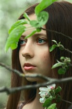 Preview iPhone wallpaper Blue eyes girl, brown hair, twigs, green leaves