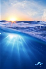 Preview iPhone wallpaper Blue sea, waves, bubbles, sunrise, shine