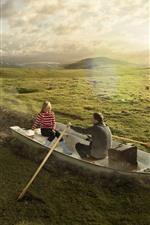 Boat, meadow, sun, creative picture