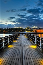 Preview iPhone wallpaper Bridge, pier, river, boats, houses, lights, night