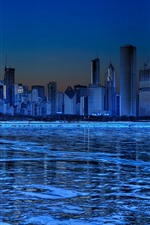 Chicago, skyscrapers, ice, river, winter, night, blue, creative picture
