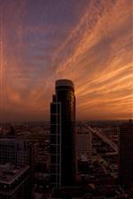 City, skyscrapers, dusk, clouds, sky