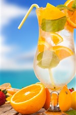 Preview iPhone wallpaper Cocktail, glass cup, oranges, strawberry, banana