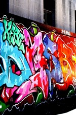 Preview iPhone wallpaper Colorful graffiti, street, city