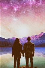 Preview iPhone wallpaper Couple, lake, stars, shine, mountains, creative picture