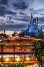 Preview iPhone wallpaper Disneyland, lake, castle, lights, clouds, dusk