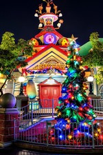 Preview iPhone wallpaper Disneyland, trees, lights, night