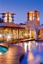 Dubai, resort, piscina, luzes, noite