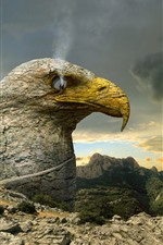 Preview iPhone wallpaper Eagle, rocks, smoke, creative picture