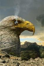 Eagle, rocks, smoke, creative picture