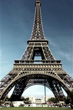 Preview iPhone wallpaper Eiffel Tower, Paris, meadow, trees, people
