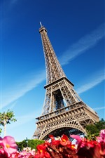 Preview iPhone wallpaper Eiffel Tower, blue sky, France