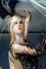 Preview iPhone wallpaper Fantasy girl, blonde, magic, art picture