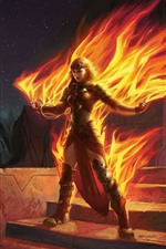 Preview iPhone wallpaper Fantasy girl, magic, fire, art picture
