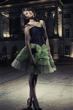Fashion girl, green skirt, night, city