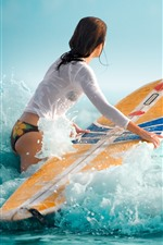 Girl, surfer, sea waves, foam