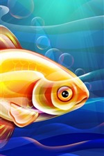 Preview iPhone wallpaper Goldfish, underwater, vector picture