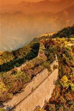 Vorschau des iPhone Hintergrundbilder Chinesische Mauer, Bäume, Berge, Sonnenschein