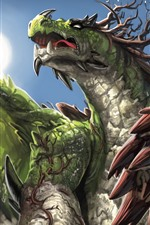 Preview iPhone wallpaper Green dragon, art picture