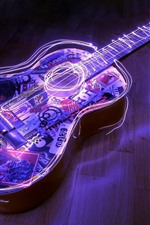 Preview iPhone wallpaper Guitar, neon, creative picture