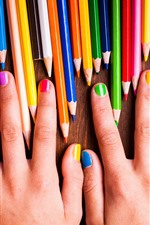 Preview iPhone wallpaper Hands, colorful pencils