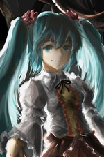 Preview iPhone wallpaper Hatsune Miku, blue hair anime girl, art painting