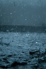 Preview iPhone wallpaper Heavy rain, water drops, dark