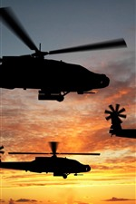Preview iPhone wallpaper Helicopter, silhouette, sky, sunset