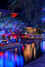 Preview iPhone wallpaper Holiday, beautiful lights, trees, river, boat