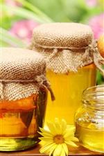 Preview iPhone wallpaper Honey, jar, flowers, sweet
