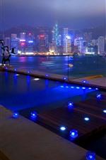 Hong Kong, city, skyscrapers, night, lights, river, pool