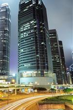Hong Kong, night, skyscrapers, lights, road, city