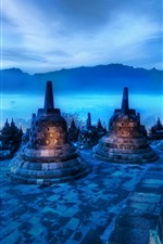 Preview iPhone wallpaper India, night, mountains, tower