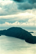 Preview iPhone wallpaper Island, sea, clouds, nature landscape
