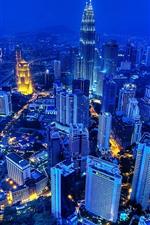Preview iPhone wallpaper Kuala Lumpur, Malaysia, night, skyscrapers, lights, city