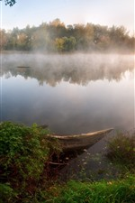 Preview iPhone wallpaper Lake, fog, trees, autumn, morning
