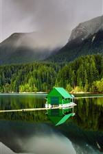 Preview iPhone wallpaper Lake, mountains, green hut, fog, trees