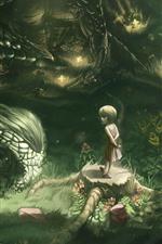 Menina e dragão, imagens de arte