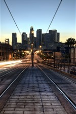 Los Angeles, city, night, railway