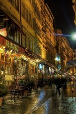 Lyon, night, street, shop, lights, France