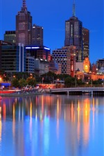 Melbourne, city night, lights, river, buildings, Australia