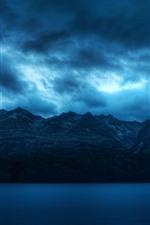 Montanhas, nuvens, rio, crepúsculo