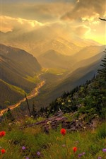Mountains, river, clouds, sun rays, morning