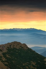 Preview iPhone wallpaper Mountains, sunset, sky, fog, nature landscape