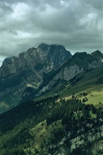 Preview iPhone wallpaper Mountains, trees, green, clouds, nature landscape