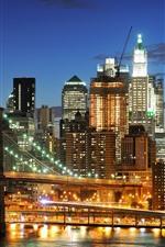 Preview iPhone wallpaper New York, night, lights, bridge, river, USA
