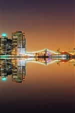 Preview iPhone wallpaper New York, river, bridge, lights, night, water reflection, USA