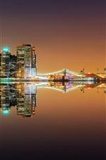 New York, river, bridge, lights, night, water reflection, USA