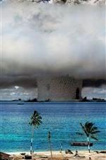 Preview iPhone wallpaper Nuclear explosion, mushroom cloud, sea